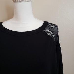 Isabel Maternity Black Lace Accent Sweatshirt